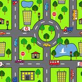 """Постер, картина, фотообои """"мультфильм бесшовный фон с яркими дорога, автомобиль и город"""""""