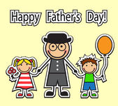 Cartoon dad holding hands childrenBoy with balloon and girl with flowers