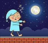 Sleepwalker walking on the roof