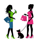 Two women silhouettes with packages and a dog on a leash