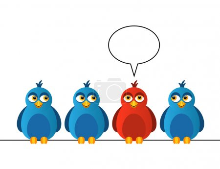 Illustration for Four birds sitting on wires. One bird is red and says - Royalty Free Image