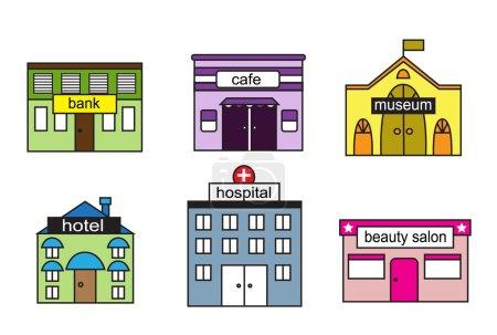 Illustration pour Maisons de bande dessinée avec diverses agences et signer - image libre de droit