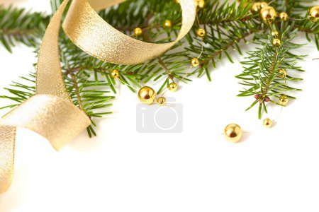 Photo for Cristmas seasonal background with spruce and golden beads isolated - Royalty Free Image