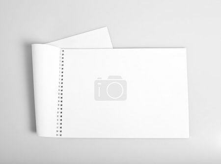 Photo for Open album with blank white pages mockup - Royalty Free Image