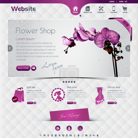 Illustration for Website template for flower shop and webshop, the worn, rubbed effects are on different layers, eps10, contains transparencies for a high realistic effect. - Royalty Free Image