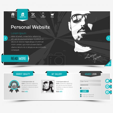 Illustration for Website template for personal profile, contains textured labels, buttons and two sample vector portraits - Royalty Free Image
