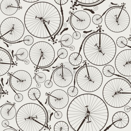 Illustration for Vintage bicycle seamless, wallpaper, eps8, no transparencies, ideal for prints - Royalty Free Image