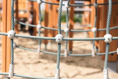 Rope climbing at children playground - close up...