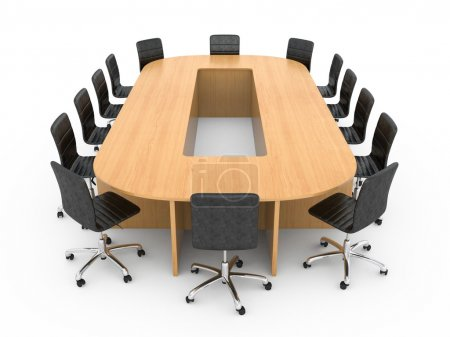 Photo for Large round wooden table with chairs - Royalty Free Image