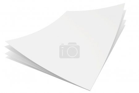 A stack of three blank white sheets