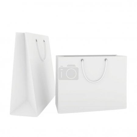Two blank white paper bags