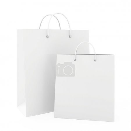 White paper bags isolated on white background