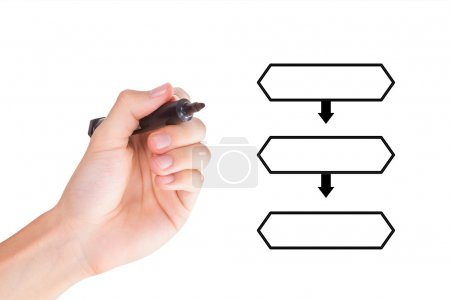 Photo for Young hand holding marker and drawing blank flow chart with space for text, isolated on white background. - Royalty Free Image
