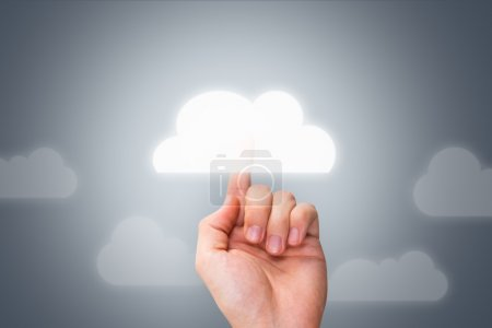 Male Hand Touching Modern Cloud Button