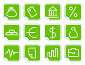 Simple image of financial and bank symbols on stickers