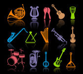 Silhouettes of various musical instruments
