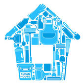 Icons of accessories and means for cleaning in the form of a house