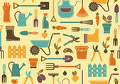 Seamless background of garden tools equipment and symbols