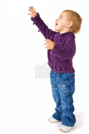 Cute Baby Girl Reaching For Something