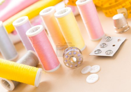 Sewing accessories on the table