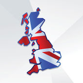 Abstract United Kingdom map with UK flag