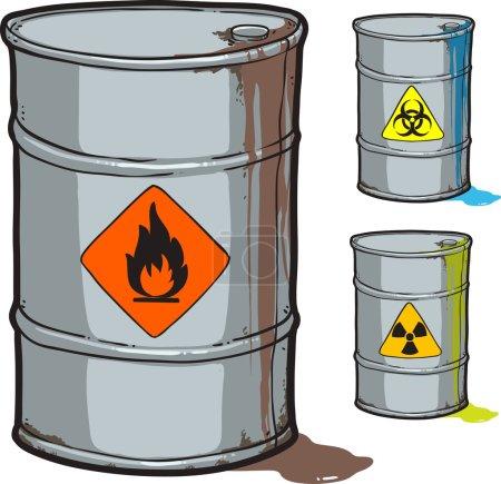 Illustration pour Baril métallique avec huile inflammable et baril avec déchets radioactifs et biodangereux - image libre de droit