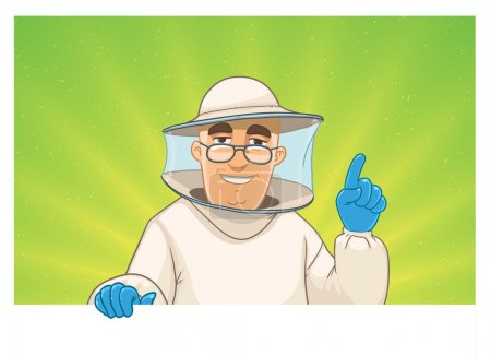 Beekeeper gives advice. man with a blank sign