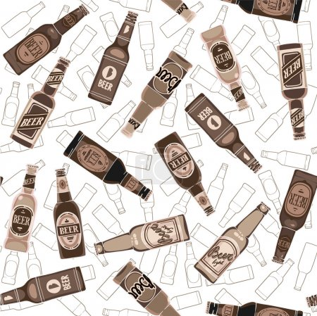 Beer bottles seamless pattern
