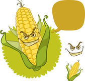 Evil corn with scary smile and dialog box isolated on white cartoon illustration