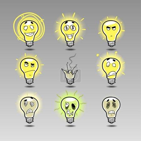 Illustration pour Idée icône émotions ensemble 3. Dessinez à la main des émotions de dessin animé : idée folle, idée d'un million de dollars, idée de génie, idée brillante, mauvaise idée, idée choquante, idée malade, idée morte, idées échouent. Idées scandaleuses - image libre de droit