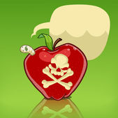 Poison apple with skull and crossbones isolated on white worm in the apple with dialog balloon cartoon illustration