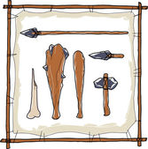 Stone age caveman hunting weapons
