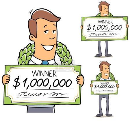 Happy man won the lottery