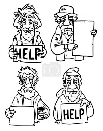 Homeless with help sign.