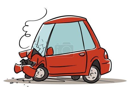 Illustration pour Caricature Accident de voiture isolé sur fond blanc - image libre de droit