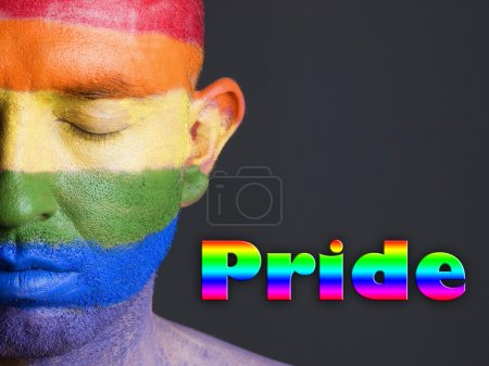 "Gay flag face man, word ""pride"" and closed eyes."