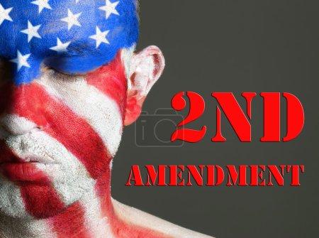 Man face flag USA, 2nd Amendment, closed eyes