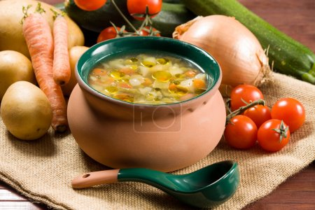 Photo for Minestrone - Italian vegetable soup - Royalty Free Image