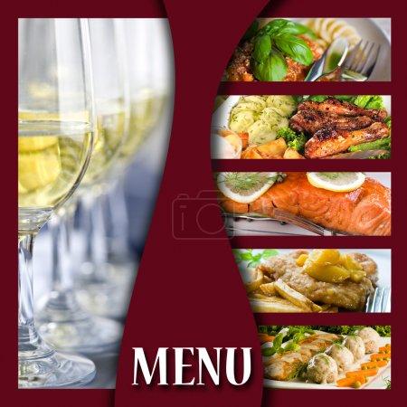 Photo pour Page de couverture de menu avec des images de nourriture et verres - image libre de droit