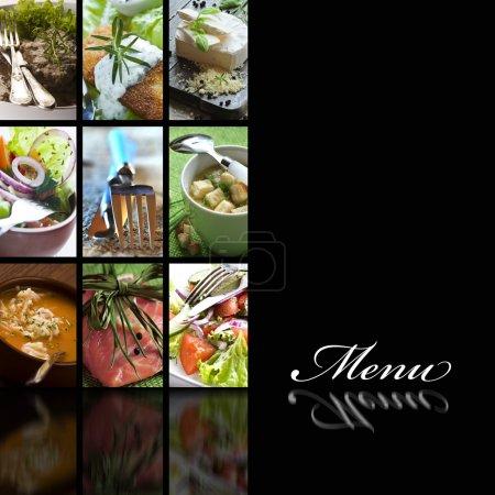 Photo pour Page de couverture de menu avec des images de nourriture - image libre de droit