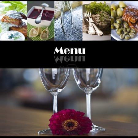 Photo pour Menu page couverture avec nourriture et lunettes photos - image libre de droit