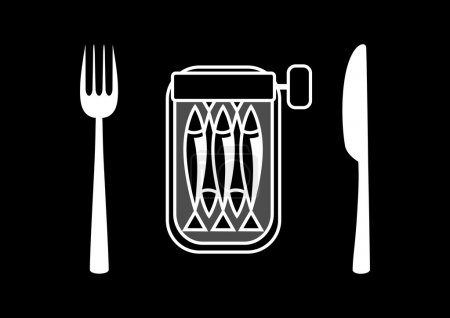 Illustration for Can of sardines with cutlery - Royalty Free Image