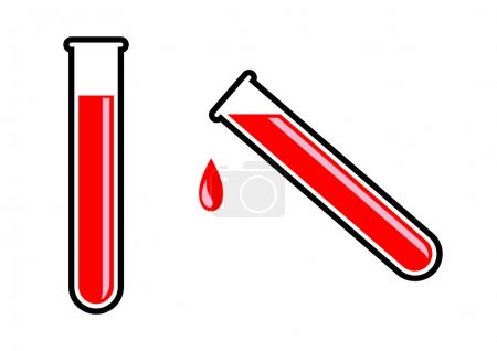 Test tube with blood on white background