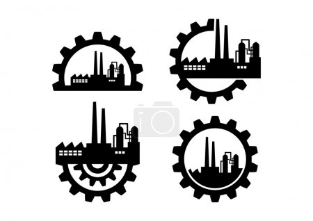 Photo for Industrial icons on white background - Royalty Free Image