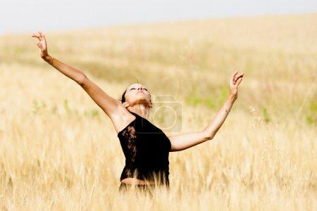 Photo pour Attitude gracieuse et sexy d'une danseuse contemporaine dans un champ de blé. Elle lève les bras comme un oiseau et porte un vêtement de sport noir . - image libre de droit