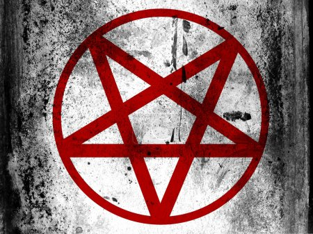 Pentagram symbol painted on board with grungy dirt...