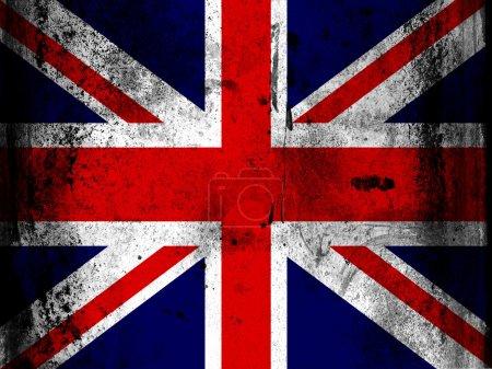 Photo pour Le drapeau britannique peint à bord avec des taches sales grungy partout - image libre de droit