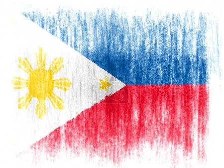 Photo pour Drapeau philippin dessiné sur fond blanc avec des crayons de couleurs - image libre de droit