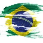Brazil. Brazilian flag painted on white surface