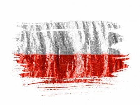 Photo pour Le drapeau polonais, peint à l'aquarelle sur papier blanc humide - image libre de droit